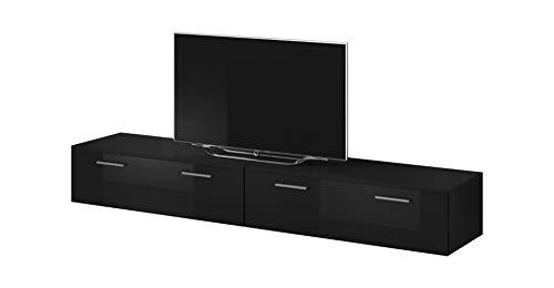 E-Com TV Möbel Lowboard Schrank Ständer Boston Korpus Schwarz/Front schwarz Hochglanz 200 cm