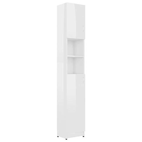 vidaXL Armario de Lavadora Cuarto de Baño Alto Estante para Lavadero Estantería Mueble Almacenamiento Almacenaje Toallas Aglomerado Blanco Brillante