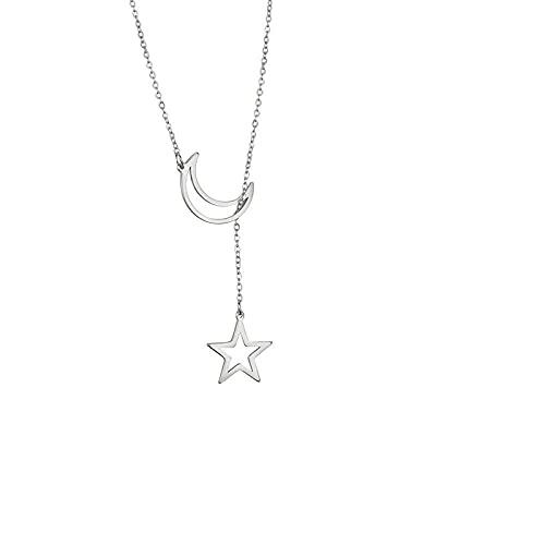 TTbaoz Collar Largo con Colgante de Luna y Estrella de Acero Inoxidable de Color Dorado a la Moda para Mujeres y niñas, Regalo de cumpleaños de joyería-Steel_45cm
