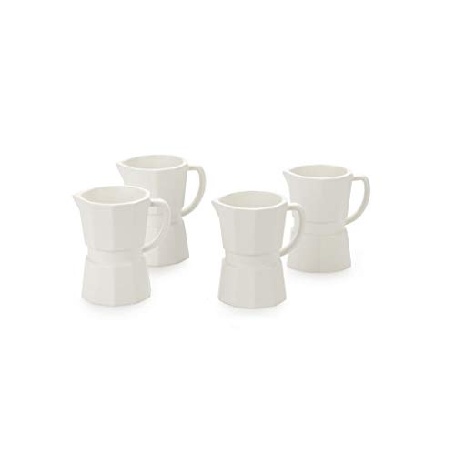 Balvi Set tazzine Espresso Moka Colore Bianco Opaco Set di 4 Tazze da caffè in Forma di caffettiera Italiana 60ml Ceramica 6,9 cm