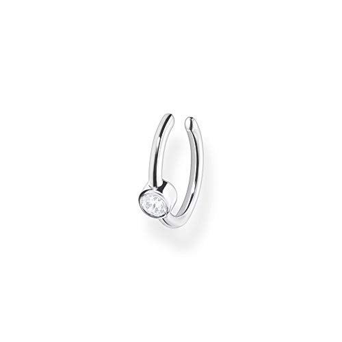 Thomas Sabo Damen Ohrklemme weißer Stein silber, 925 Sterlingsilber, EC0018-051-14, 1,20 cm