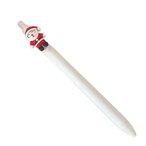 KerDejar Bolígrafo de gel retráctil, recargable de gel, color negro, decoración de fiesta Christams, punta redonda de 0,5 mm, ideal para oficina de estudiantes, Santas blancas