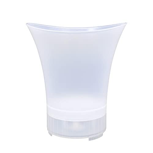 OMKMNOE Cubo de Hielo Luminoso LED, con Altavoz de Bluetooth inalámbrico Portátil Durable Cubo de Hielo Recipiente contra la caída para la Fiesta de Playa Bodas al Aire Libre y de la Familia,Blanco