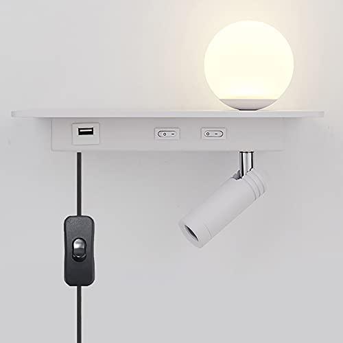 ZBYL Lampara de Pared Dormitorio Aplique Pared Interior con Interruptor LED Luz de Pared Decorativa Lámpara de Mesilla de Noche de 350° Orientable, Carga USB, Enchufe e Interruptor de la UE,Blanco