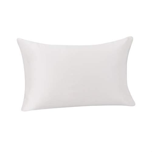 Amazon Basics - Funda de almohada de seda de morera 100%, ideal para el cabello y la piel, cierre de cremallera, doble cara, 19momme, marfil, 50x75cm, 1unidad