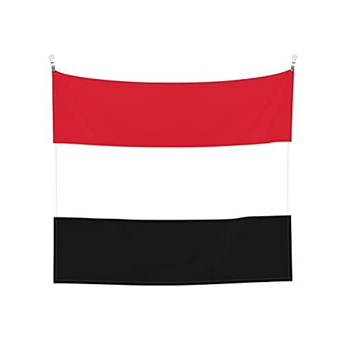 Wandbehang mit der Flagge von Jemen, Boho, beliebt, mystisch, Trippy, Yoga, Hippie, Wandteppiche für Wohnzimmer, Schlafzimmer, Wohnheim, Heimdekoration, schwarz & weiß, Stranddecke