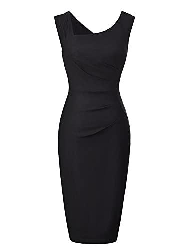 Belle Poque 1950s Vintage Kleid Damen Rockabilly Kleid Partykleider cocktailkleider schwarz Größe L BP302-1