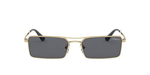 Vogue Eyewear Women's VO4106SM Rectangular Sunglasses, Gold/Grey, 55 mm