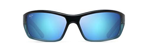 Maui Jim Barrier Reef w/Patented PolarizedPlus2 Lenses Wrap Sunglasses, Blue W/Turquoise/Blue Hawaii Polarized, Medium