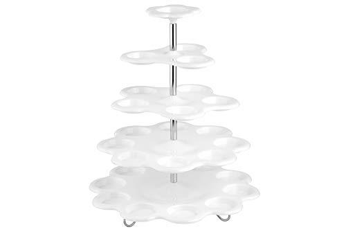 Esmeyer Muffinetagere Mandy Kunststoff 5-stufig, Edelstahl, weiß/Silber, 31.5 x 31.5 x 9.5 cm