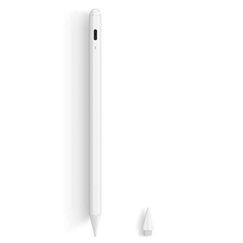 ESR Digitaler Stift kompatibel mit iPad, Aktiver Stylus, Neigungsempfindlichkeit, magnetischer Halt, Handballenerkennung, kompatibel mit iPad Pro 2020/2018, iPad 8/7/6, Air 4/3, Mini 5, Weiß.