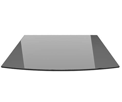 Segmentbogen 100x100cm Glas schwarz - Funkenschutzplatte Kaminbodenplatte Glasplatte (Schwarz SB100x100cm - mit Silikon-Dichtung)