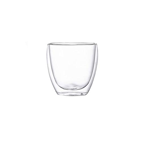 TSP Accesorios para vino Juego de tazas de doble pared para café, whisky, cóctel, cerveza, vaso con aislamiento de vidrio transparente (color: 4 piezas de 450 ml)
