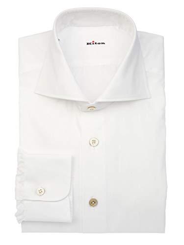 Kiton Herren K102popelinebianco Weiss Baumwolle Hemd