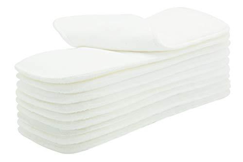 AUBIG 10 Stück Baby Stoffwindel Saugeinlagen Wiederverwendbare Einlagen Windeleinlagen Babywindeln Waschbare Weiß