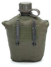 A. Blöchel US Army Style Outdoor Feldflasche mit Stoffbezug 1 Liter Trinkflasche (Oliv)