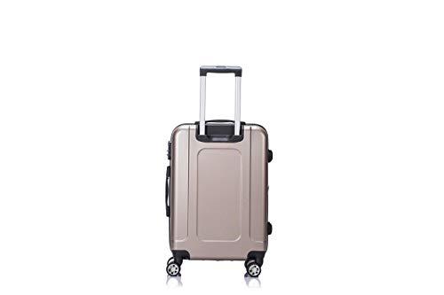 LYS - Valise Cabine Trolley 55x35x21 cm Ultra léger Rigide Rouge 4 Roues doublées ABS pour Toutes...