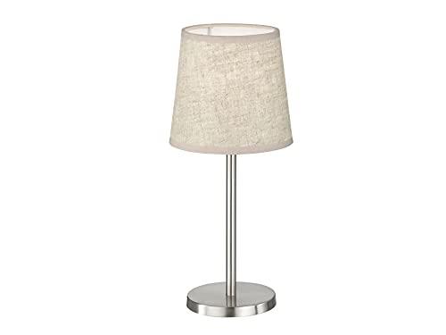 Kleine FHL easy! EVE - Lámpara de mesa con pantalla de tela (lino, diámetro de 14 cm), color plateado