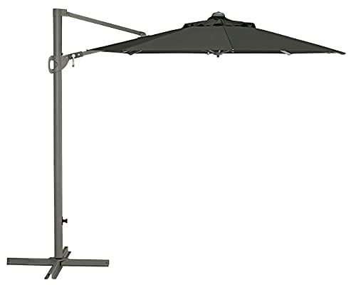 Dehner Ampelschirm Patmos, UV-Schutz 80+,Ø 250 cm, Höhe 244 cm, Stahl/Aluminium/Polyester, dunkelgrau
