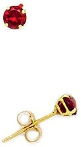 14ct rot3MM GelbGold, Rund, Cubic Zirkonia, Mit Geburtsstein für Januar, JewelryWeb Ohrringe Set
