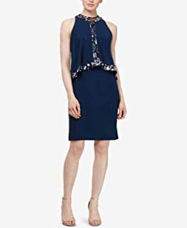 SLNY Womens Navy Sequin Trim Popover Sleeveless Jewel Neck Above The Knee Cocktail Dress US Size: 14