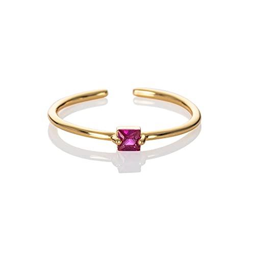 namana rosa Ring in Gold für Frauen, verstellbarer offener Ring für Damen mit einem rosa Stein, vergoldeter Damenring mit einem tiefrosa Stein, einfacher Goldring für Frauen, Teens, Mädchen