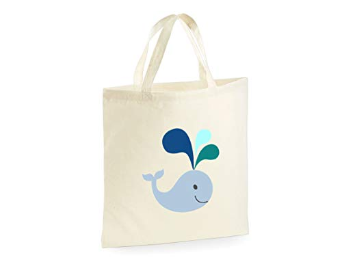 Happy Whale Animal Reusable Tote Bag Shopper Canvas Shopping Bag (Printed On One Side)