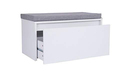 Happy Home, scarpiera con cassetto, scarpiera con cuscino per ingresso, corridoio, camera da letto, bianco, 80 x 38 x 43 cm