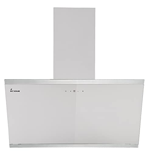 KKT KOLBE/Kopffreie Wandhaube/Dunstabzugshaube / 90cm / Edelstahl/weißes Glas/Nachlaufautomatik/SensorTouch Bedienung / LUNA9109W