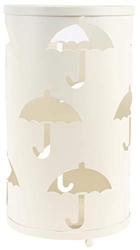 Savino Fiorenzo Portaombrelli Ombrello Contenitore diam.24 h42 cm in Ferro e Metallo antiruggine Rotondo Bianco Panna con Decoro ombrelli da Ingresso casa Ufficio Locale con vaschetta raccogli Acqua