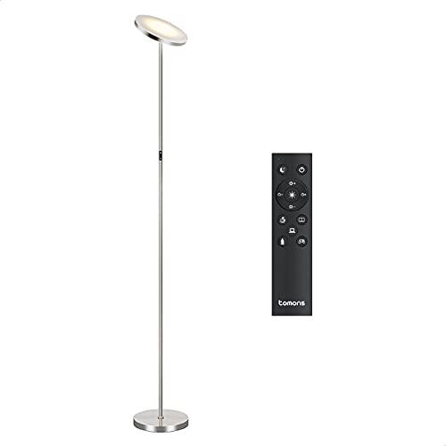 Tomons Stehlampe LED Dimmbar, Stehleuchte Stufenlos Dimmbar, 30W LED Deckenfluter mit Fernbedienung, Stufenlose Farbtemperaturen Industrial Modern Stehlampen Silber für Wohnzimmer, Büro, Schlafzimmer