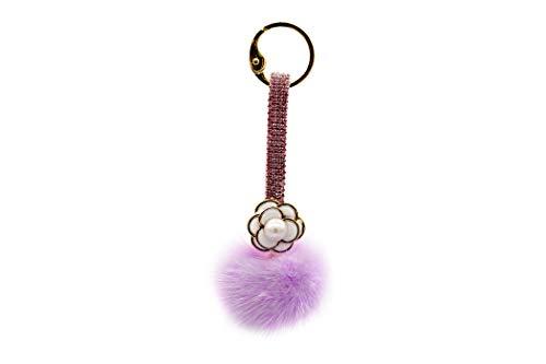 Luxury Mink Fur Pom Pom Keychain with Crystal Strap - Bag Purse Charm - Fluffy Fur Ball - Fashion Gift (Lavender)
