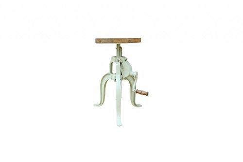 Jabulo Industrial Hocker Barhocker höhenverstellbar mit Kurbel Drehhocker Vintage Retro telegrau