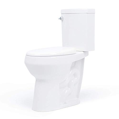 20 inch Extra Tall Toilet. Convenient Height bowl taller than ADA Comfort Height. Dual flush, Metal handle, Slow-close seat