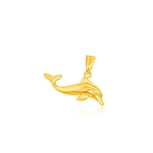Colgante de oro amarillo 9 kt, delfín 26/8 mm, peso: 0,8 g.
