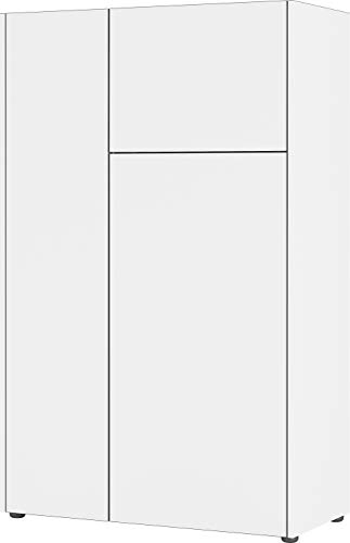 Germania Highboard 3423-550 GW-Veluva, in Weiß/Graphit, mit abgesenktem Oberboden, 88 x 141 x 42 cm (BxHxT)