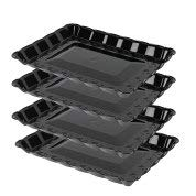 Plasticpro Plastic Serving Trays - Serving Platters Rectangle 9X13 Disposable Party Dish 4 Black