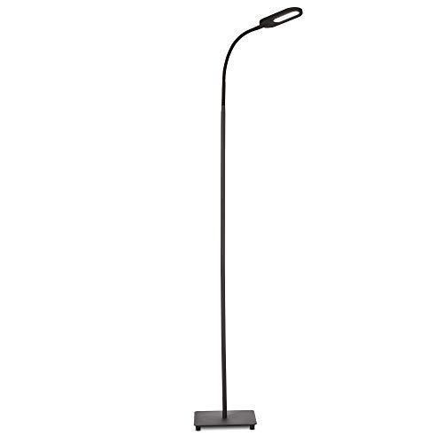 Lampada da terra LED, piantana dimmerabile su 4 livelli, luce calda, neutra o fredda, altezza d'uso 1,28m, LED integrati 8W, 600Lm, orientabile, lampada a stelo touch moderna per soggiorno, nera IP20