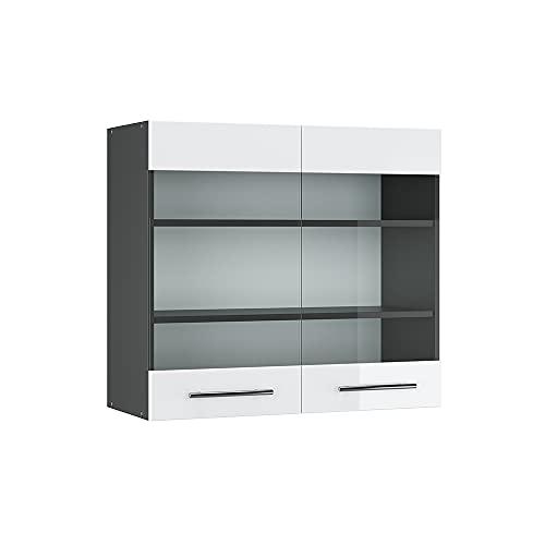 Vicco Hängeglasschrank 80 cm Küchenschrank Hängeschrank Küchenzeile Fame-Line (Weiß Hochglanz)