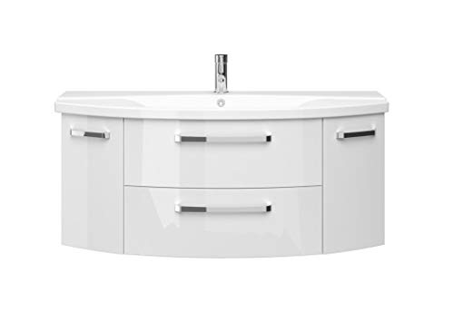 PELIPAL FOKUS 4010 Bad Möbel Set (2 teilig) / Weiß Hochglanz, Keramikwaschtisch, Unterschrank