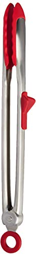 Tovolo Tip Top Tongs, Easy-Grip Silicone Head, Locking-Mechanism, 13 Inches, Candy Apple Red