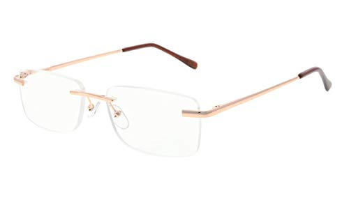 Eyekepper Mens Womens Spring Hinges Rimless Reading Glasses Gold +2.00