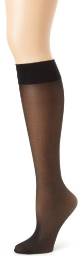 Hanes Silk Reflections Women's Alive Full Support 2 Pack Sheer Knee Highs, Jet, One Size