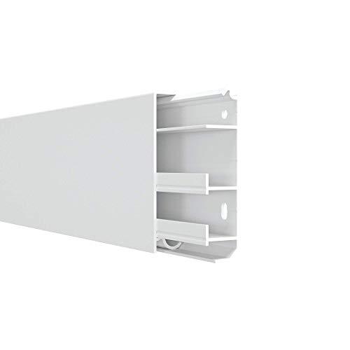 Habengut 3 m Sockelleiste aus PVC, mit integriertem Kabelkanal, Farbe: Weiß, Höhe 80 mm (2 Stück á 1,5 Meter)