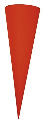 Rayher 7134118 Schultüte, aus Pappe zum Basteln und Selbstgestalten, Rohling ohne Verschluss für Zuckertüte, rund, rot, 70 cm