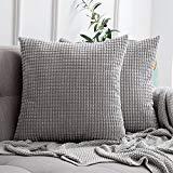 MIULEE 2er Set Kordsamt Soft Solid Dekorative Quadrat Wurf Kissenbezüge Set Kissen Fall für Sofa...