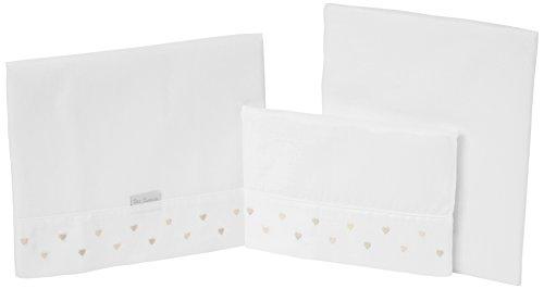 Petit Lazzari Lot de 3 draps pour berceau Motif cœurs Beige 50 x 80 cm