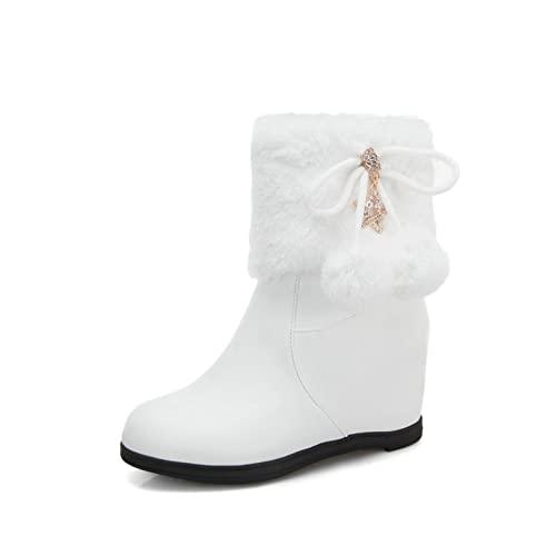 Women Cute Round Toe Snow Boots Hidden Wedge Girls Pom Pom Warm Casual Winter Zipper Ankle Booties