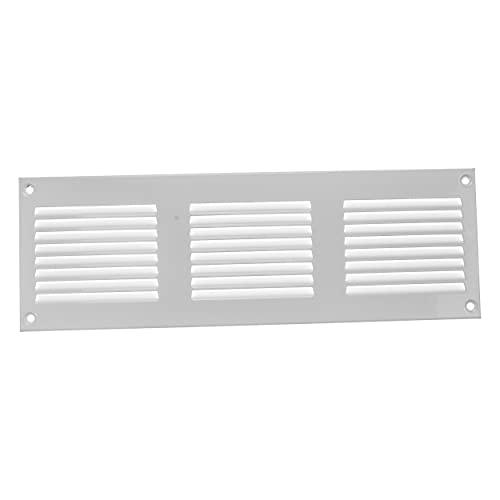Rejilla de ventilación blanca con mosquitera (300 x 100 mm) para interior y exterior. No contiene tornillos.