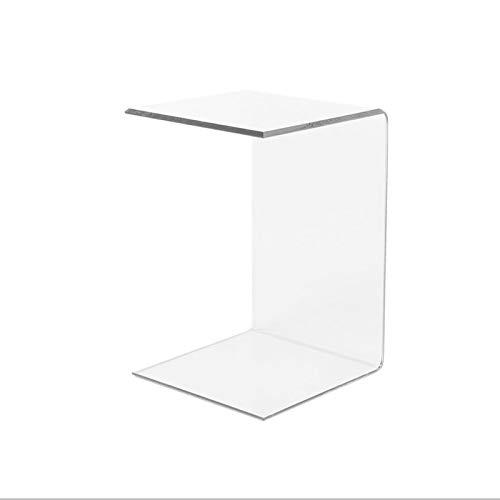 LuceSolida - 'Tower' Tavolino in Plexiglass Lato Divano Forma di C Trasparente da Salotto 30x30x60
